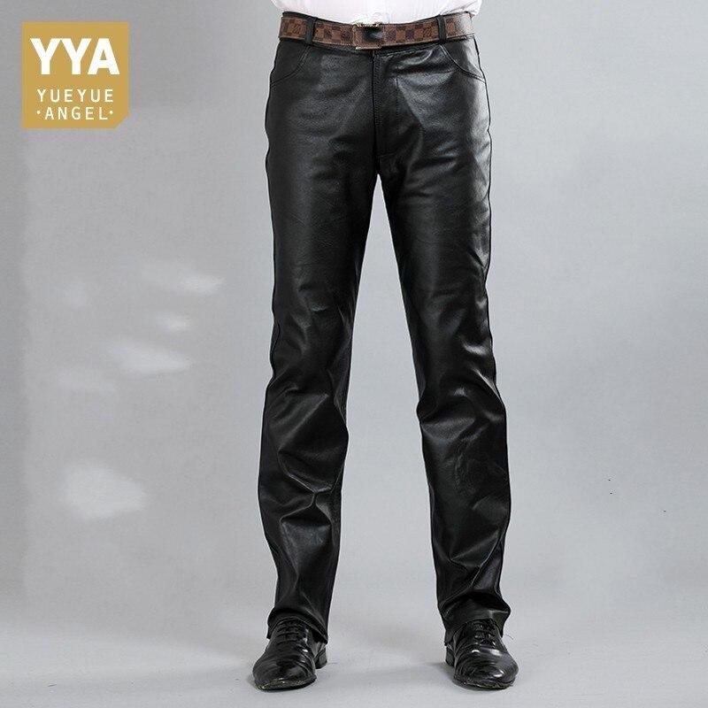 New Fashion Male Genuine Leather Pant 2020 Autumn High Street Straight Loose Classic Trouser Biker Soft Pantalon Man Plus Size