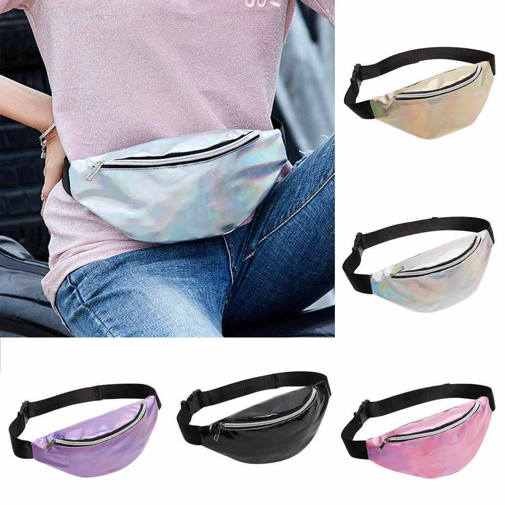 Laser pocket mini flash shoulder chest bag Fashion Neutral Outdoor Sport Beach Bag Messenger Crossbody Bag holographic fanny