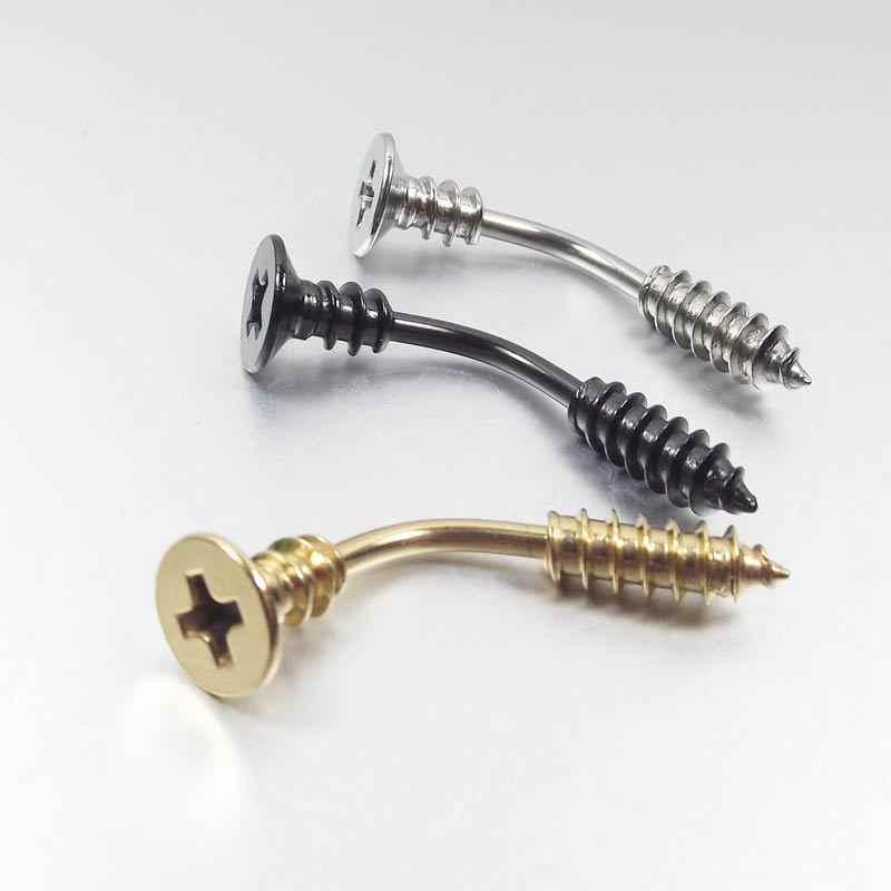 1 חתיכה 14G כירורגי נירוסטה טבור טבעות בורג בטן טבעת חידוש ברגים סקסי טבעת פירסינג תכשיטים
