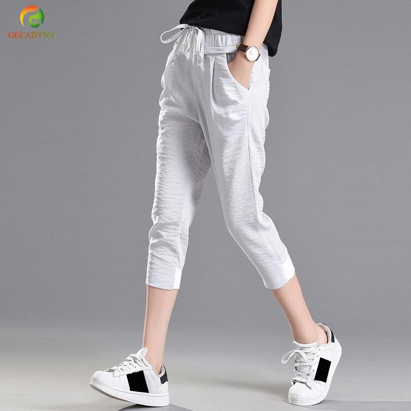 Women Solid Color Fashion Leisure Ice Silk Linen Women's   Pants   Street Casual Pantalon Femme Simple Harem   Pants     Capris   S-XXL