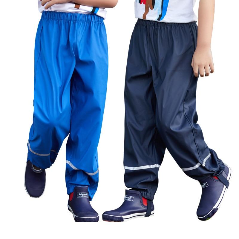 2019 Rain Pants For Boys PU Waterproof Sport Kids Girls Trousers Windproof Children's Leggings Autumn Teenage Pants Clothing