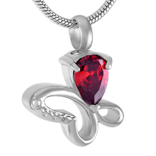 (Only pendant) Blue/Purple/Red/Orange/Black Crystal Butterfly Stainless Steel Memorial Urn Pendant For Pet Cremation Ash Jewelry