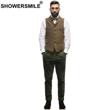 SHOWERSMILE Tweed Waistcoat Mens Herringbone Vest Brown Vintage Sleeveless Jacket Male Pockets Retro Slim Casual Autumn Gilet