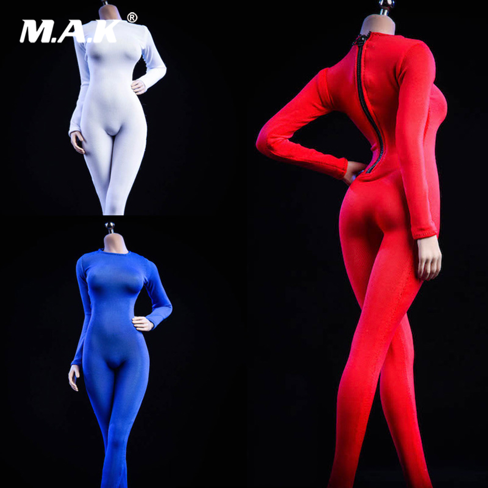 <font><b>1/6</b></font> <font><b>Scale</b></font> <font><b>Female</b></font> Figure <font><b>Clothes</b></font> 19XG37 Long Sleeved Bodysuit Undercoat Jumpsuit Model for 12'' Action Figure Body Accessory image