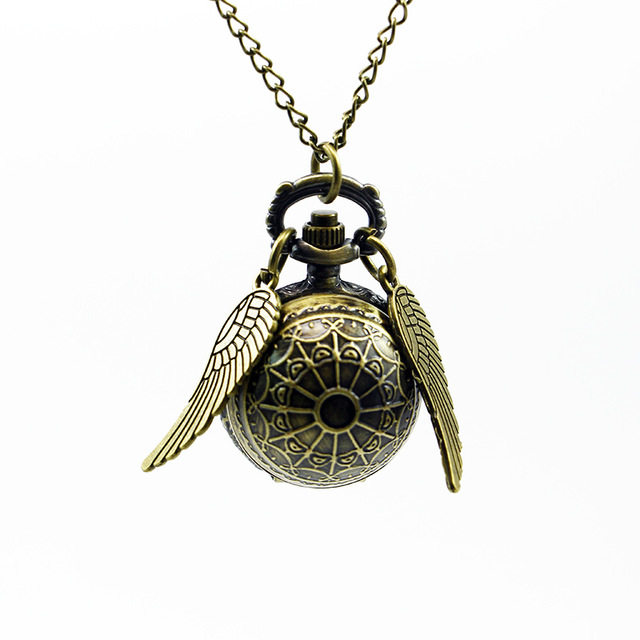 Antique Golden Angel Wing Quartz Pocket Watch Charming Vintage Men Women's Watch Snitch Ball Necklace Pendant Watch With Chain