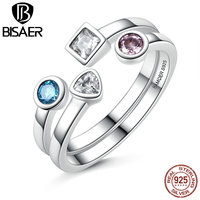 VOROCO New Collection 925 Sterling Silver Statement Finger Ring Set Clear CZ Vintage Ring For Women