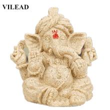 VILEAD 4.3 6.3 India Sandstone Elephant God Statuettes Hindu Ganesha Religious Headed Buddha Statue Decoracion Hogar