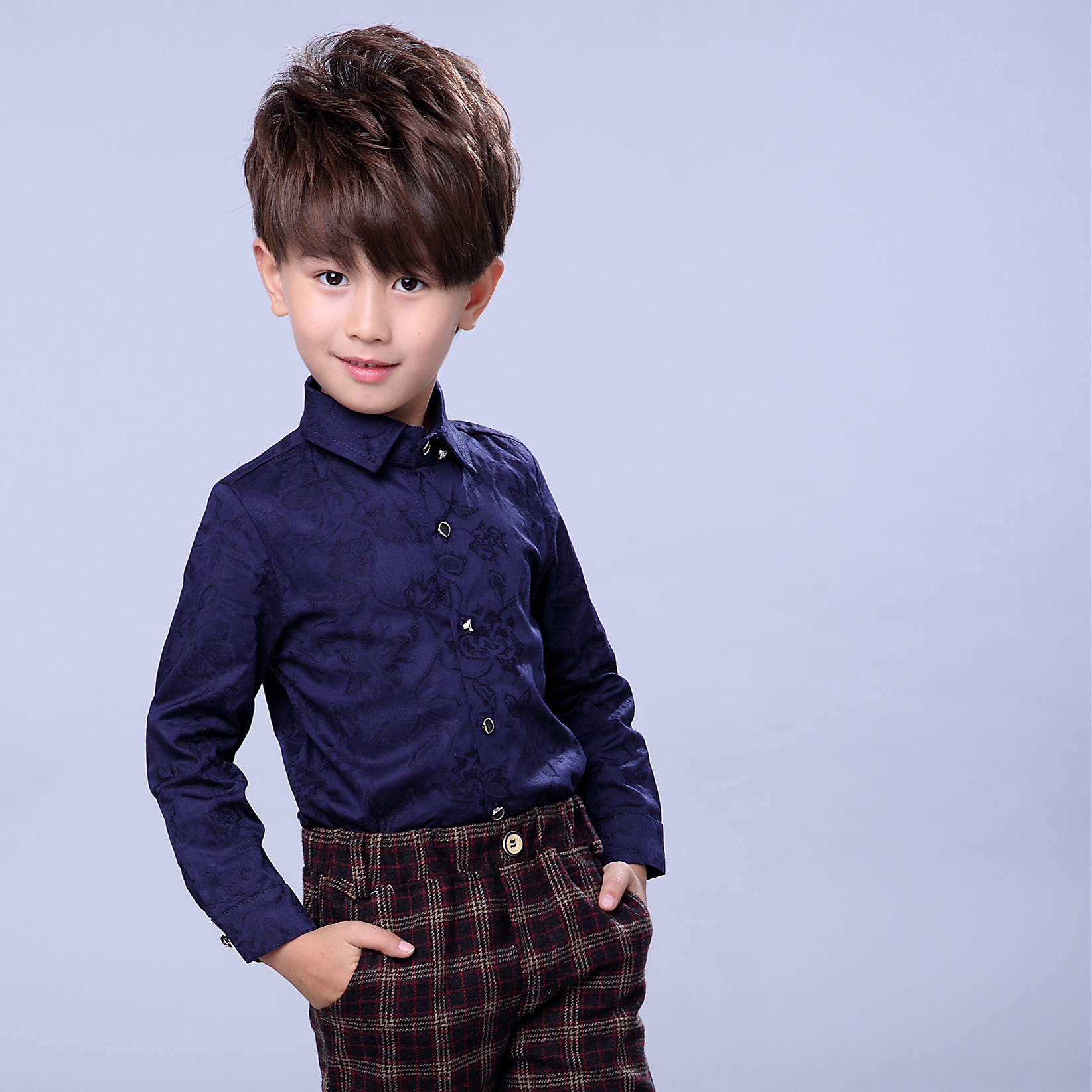 New Design Children Spring Formal Floral Dress Shirts For Boys