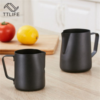 TTLIFE 350ML 600ML Stainless Steel Coffee Pitcher Milk Frothing Pitcher Pull Flower Cup Cappuccino Latte Art