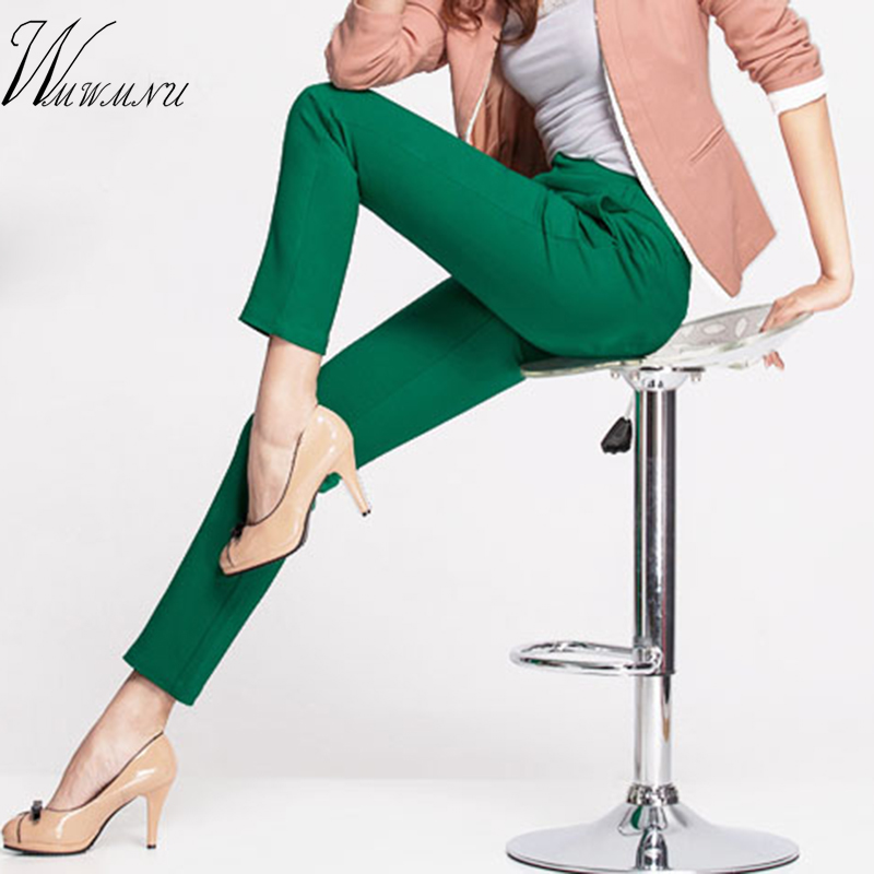 2018 NEW women's casual OL office Pencil Trousers Girls's cute 12 colour Slim Stretch Pants fashion Candy Jeans Pencil Trousers(China)