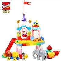 GOROCK 80 Stücke Happy Valley Big Building Block Set Mädchen Pädagogische DIY Spielzeug Für Weihnachten Geschenk Für Baby Kompatibel Mit Duploe