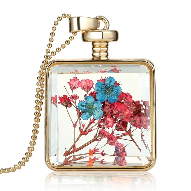 Golden Square Pink Blue Real Dried flowers Transparent Pendant necklaces necklace Square glass Locket necklace women drop