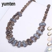 Yumten المرأة الكبيرة قلادة خمر رجل السلطة جوهرة الحجر الطبيعي مجوهرات العرقية بيان الاكسسوارات النسائية الأزياء قلادة الريكي