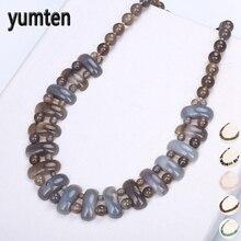 Yumten النساء كبيرة قلادة خمر رجل الطاقة جوهرة الحجر الطبيعي مجوهرات العرقية بيان الإناث الاكسسوارات الأزياء قلادة الريكي