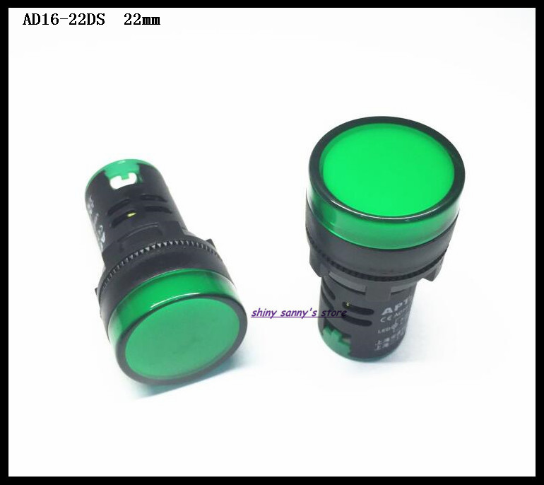 10 Pcs/Lot AD16-22DS 22mm Diameter Green AC/DC 12V,24V,36V,110V, AC220V LED Power Indicator Signal Light Lamp Brand New