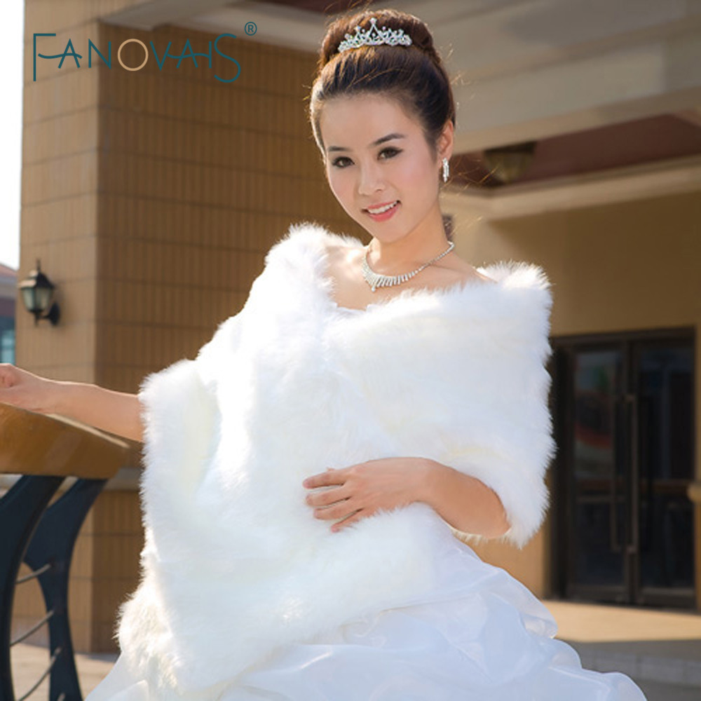 2019 Wedding Bolero Jacket Winter Wedding Wrap Warm Faux Fur Stoles Bridal Coat Accessories Wedding Cape Coat ASPS-1027