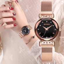 2019 Luxury starry sky Women Watches Rose Gold Bracelet Rhinestones Quartz Ladies Watch Thin Steel Female Clock relogio feminino(China)