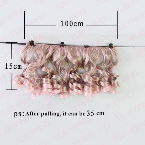 7Pcss / lot NYHET 15CM * 100CM Fasjonable BJD SD DIY Curly Parykker - Dukker og tilbehør - Bilde 4