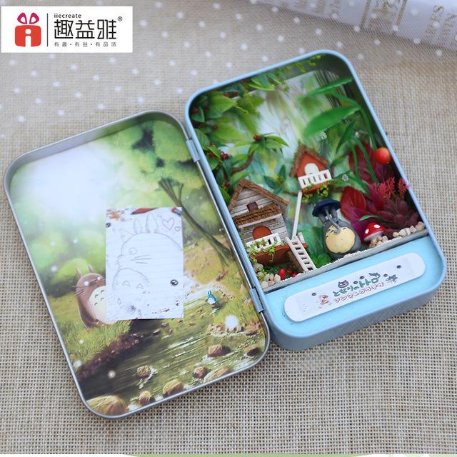 T001 Selva tempo caixa de Ferro DIY casa de boneca em miniatura casa de bonecas Mobiliário Brinquedo Miniatura Mobiliário Presentes Criativos de Aniversário