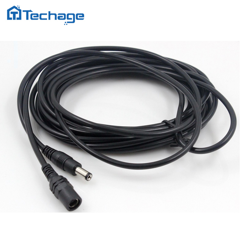 Techage CCTV DC Power Extension Cable Cord 5 Meter 5.5mm x 2.1mm Male Plug for CCTV Security Camera 5m/10m Power Supply Adapter 10m dc power extension cable dc jack female to male plug cable adapter extension cord connector for camera cctv led monitor z09