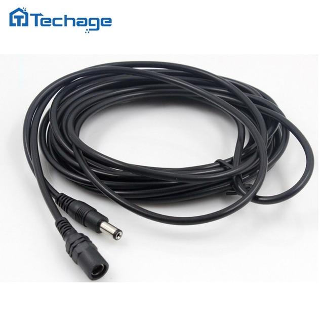 Techage CCTV câble d'extension d'alimentation cc cordon 5 mètres 5.5mm x 2.1mm prise mâle pour caméra de sécurité CCTV adaptateur d'alimentation 5 m/10 m