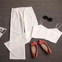 Famous Brand 2016 Summer Ladies Short Paragraph Small Fragrant Style Slim Camisole Waist Wide Leg Pants