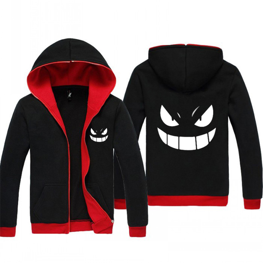 Harajuku Pokemon Anime Hoodies Zipper Clothing Lminous Gengar Pocket Monsters Cosplay Jacket Black Sweatshirts Hoody Dropship