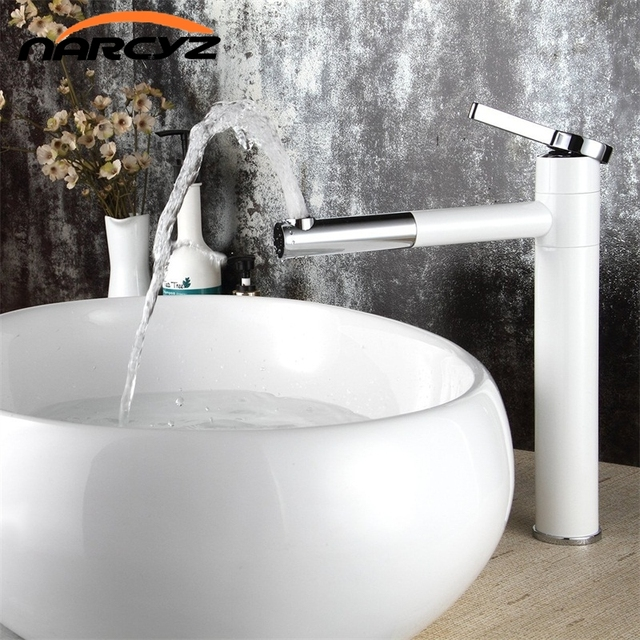 High Quality White Single handle basin Waterfall Brass Faucets ...