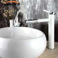High Quality White Single handle basin Waterfall Brass Faucets Bathroom Faucet Sink Basin Mixer Tap LT 701B