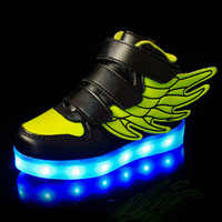BABAYA Fashion Wings USB Charge Children Glowing Shoes Girls Led Light Shoes Boys Leather Sneakers Skateboard Shoes 1199