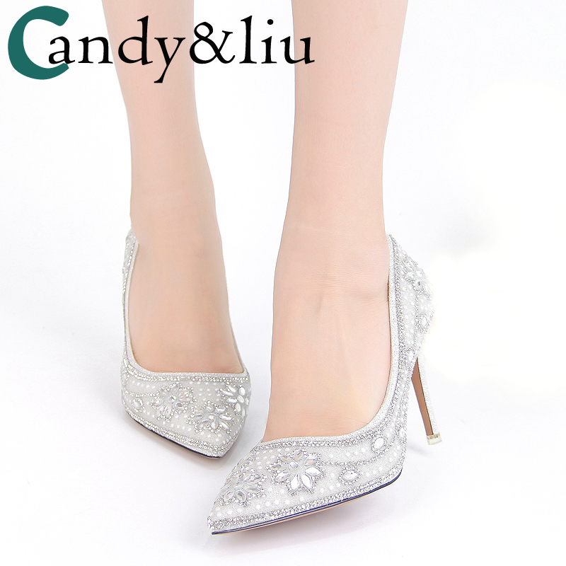 Spring new bridal shoes female white pointed shallow mouth with fine dress banquet toast crystal shoes star wedding shoes cinderella slipper shallow mouth high heels bridal shoes diamond wedding shoes fine with pointed shoes