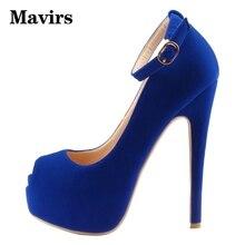 Mavirs Brand Platform Shoes Women Pumps 2018 Large Size Peep Toe Sexy High Heels Stiletto Blue Wedding Shoes US Size 5-15