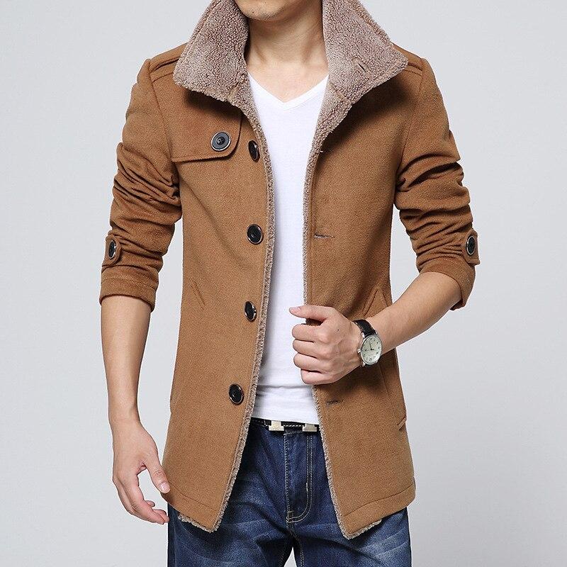 Men trench coat long Jackets Coats Slim Fit Men Windbreaker Outwear wool blends coat winter Plus Size 2018 New Jacket Overcoat