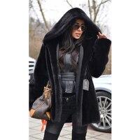 TOPFUR 2018 роскошная черная норковая меховая модная норковая Меховая куртка повседневная однотонная норковая шуба женская новая норка Большие