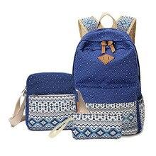 Новые повседневные женские рюкзак Canvas корейский школьные сумки дорожные рюкзаки для девочек-подростков консервативный стиль горошек Женские комплект с сумкой
