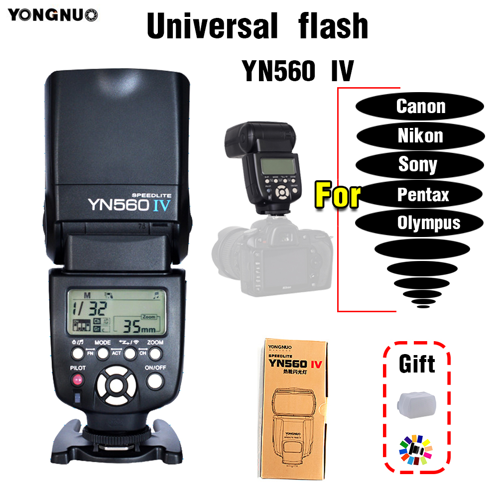 YONGNUO YN-560 IV YN560 IV Universal Flash Speedlite For Canon Nikon Sony SLR flash Hot shoe flash Camera external flash профессиональная цифровая slr камера nikon d3200 18 55mmvr