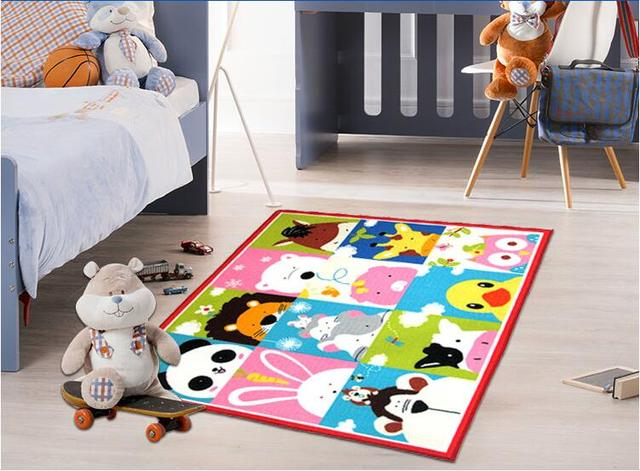Moisture Resistant Kids Rug Cartoon Animal Printed Carpet Six Animals For Baby Rugs Living Room