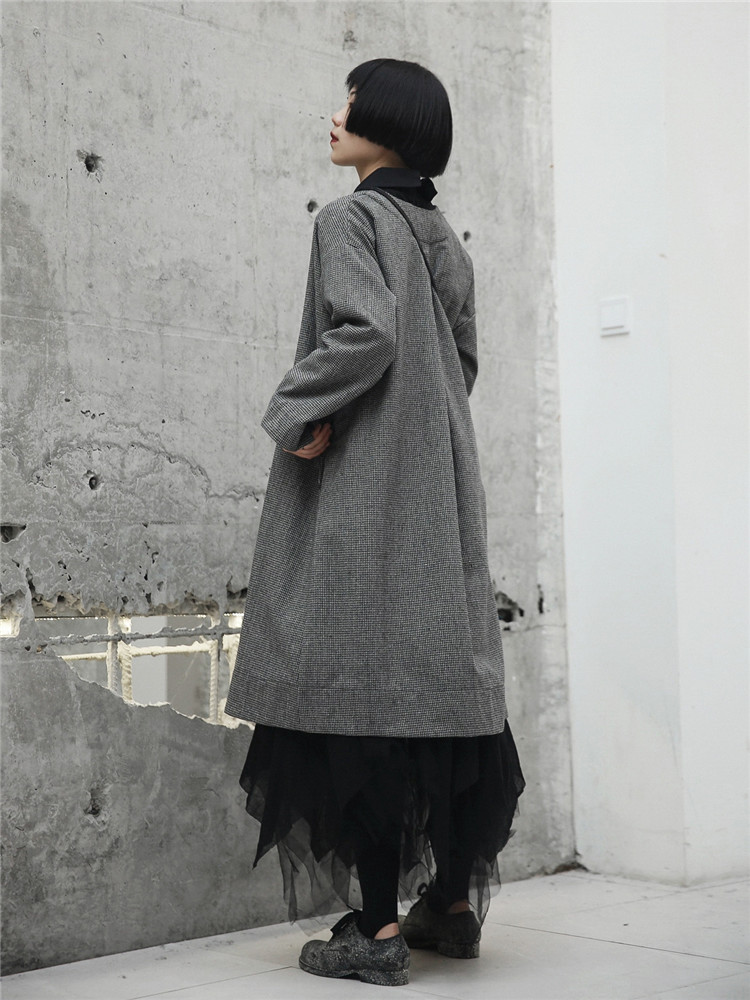 Manteau Femme Taille Japonais Cakucool Coupe Pardessus Plaid vent Manteaux Grande Longs Pour Casual Mince Femmes Automne Style Tranchée qx1CzwFE