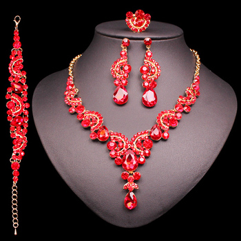 Fashion Crystal Jewelry Sets Jewelry Jewelry Sets Women Jewelry Metal Color: 4 pcs suit red