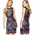 2017 Elegant Sleeveless Dress Women Sexy Nude Illusion Lace Short Dress Navy Blue Pencil Bodycon Party Mesh Dress Vestido2Pieces