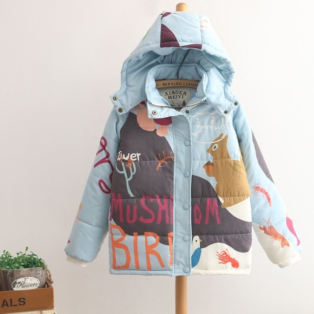 2016 winter fresh cartoon print with hood thick warm wadded jacket coats down parkas sky blue harajuku Japanese women outerwear