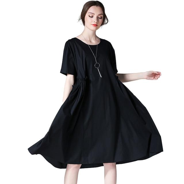 Summer Women Plus Size Dresses Black Short Sleeve O Neck A line ...