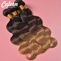 Cheap 7A Peruvian Virgin Hair Body Wave Ombre Hair Bundles Ombre Three Tone T1B/4/27 Body Wave Peruvian Human Hair Weave Bundles