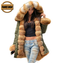Fandy Lokar Real Fur Coats For Women Red Fox Fur Down Coat Lining Rabbit Fur coat Waterproof Fur Parkas For Women Winter Jackets