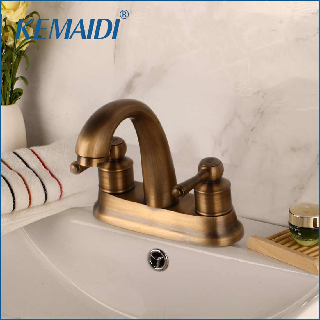 Kemaidi Hot Sale Bathroom Faucet Doule Handle Antique Brass Stream