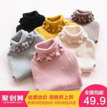 Хан издание осень зима бантом водолазка девушки детская одежда Зимой дети свитер мой