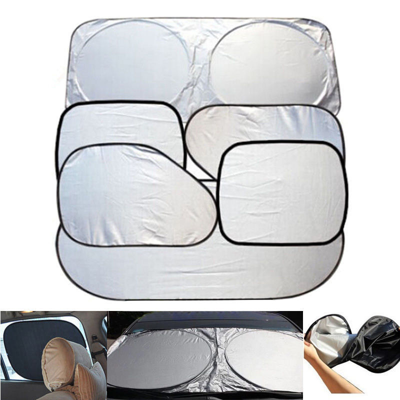 6 Pcs Sun Visor Car Windshield Shade Silver Reflective Foldable Windshield Full Shield Car Sun Visor Cover Uv Protect Reflector