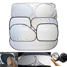 6 pçs sol viseira pára brisa do carro sombra prata reflexivo dobrável pára brisa escudo completo viseira do carro capa uv proteger refletor