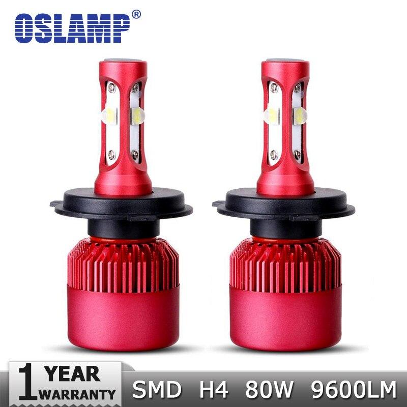 Prix pour Oslamp H4 Haute-Bas Faisceau LED Phare De Voiture Ampoule CREE SMD Puces 80 W 9600LM par Paire 6500 K Auto Projecteur Lumière H4 De Voiture Ampoules 12 v 24 v