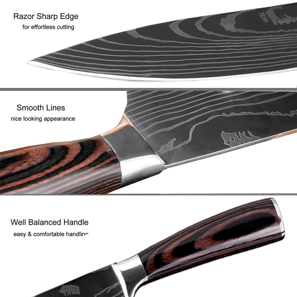 Premium Japanese Laser Nano Technology Damascus Pattern Knives 3